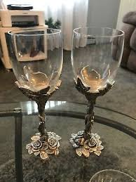 seagull pewter etain zinn 1995 rose collection wine glasses set