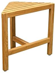 decoteakr oasis teak corner shower bench with shelf in natural aqua stool transitional benches bathrooms cool