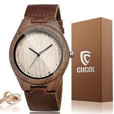 cucol men s walnut wood watch wooden stylish leather