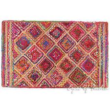 colorful woven jute chindi braided area decorative rag rug indian bohemian 3 x 5