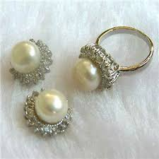 Noblest <b>Natural</b> White Akoya Cultured Pearl <b>Ring</b> + <b>Earrings Jewelry</b> ...