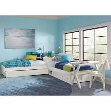 ne kids pulse white lshaped bed with storage and trundle  kids