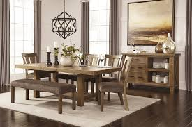 tamilo gray brown rect dining room ext table 5 uph side chairs