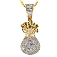 1jdp 12840 diamond money bag pendant