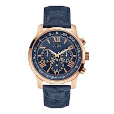 guess watches h samuel guess men s horizon rose gold tone blue leather strap watch product number 2317443