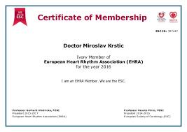 Membership Certificate Ehra A3p570000000eka