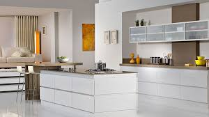 White Modern Kitchen Kitchen Cool Glass Kitchen Cabinet Door Deocr With U Shape