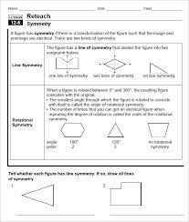 Line of Ratational Symmetry Sheet Template