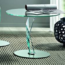 brat 60cm round glass lamp table
