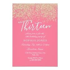 13th Party Invitations Pink Gold Glitter Confetti 13th Birthday Party Invitation