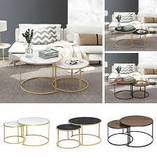 marble vein round coffee tables set