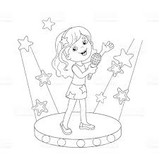 Small Picture Coloring Page Outline Of Girl Singing A Song On Stage stock vector