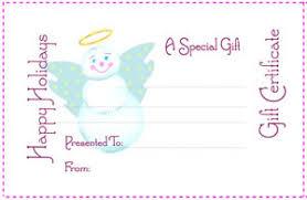Printable Christmas Certificates Holiday Gift CertificateSnow Angel Free Printable Coupon Sheet 47