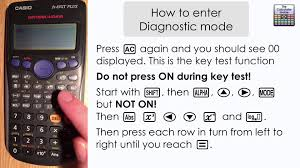 how to enter diagnostic mode feature on casio calculator fx 83g