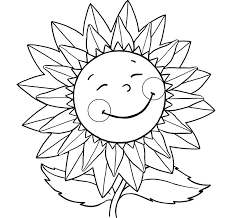 Small Picture Sunflower Smiling Coloring Pages For Kids With Flowers Flower