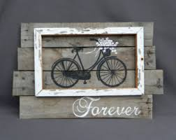 distressed reclaimed wood pallet art bright hand painted daisies of antique bike wall art barn wood rustic and shabby chic summer porch on pallet wall art shabby chic with state of michigan reclaimed wood pallet wall art gift hand tiny