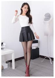 new 2016 russia fashion black red leather skirt women vintage high waist pleated skirt female short skirts