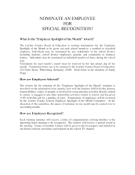 Employee Of The Month Recognition Letter Sample 11 Isipingo Secondary