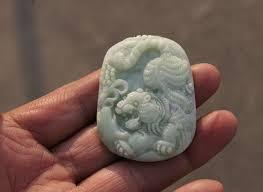 natural white jade tiger necklace