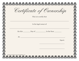 Ownership Certificate Template Best Templates Ideas