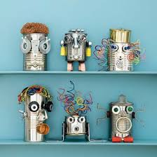 These robots made from cans and bits of odds and ends from the junk drawer  are adorable. They can easily be made into a family project and placed in a  ...