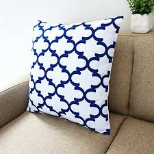 blue and white pillows. Exellent White Amazoncom Blue And White Howarmer Square Cotton Canvas Decorative Throw  Pillows Cover Set Of 4 Accent Pattern  Navy Quatrefoil Arrow  With And Amazoncom