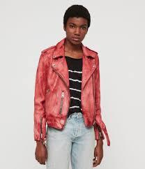 women s balfern tye dye leather biker jacket pink image 1