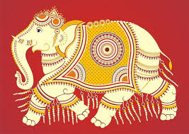 indian folk painting kalamkari painting of an elephant stock ilration ilration of elephant
