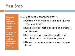 visual persuasive essay guide to creating a visual essay ppt  first step persuasive thesis statements reflect what you are arguing