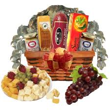 savory meat and cheese gift basket view full size