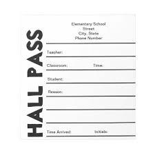 Student Hall Pass School Hall Pass Notepad