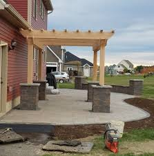paver patio with pergola. Wonderful With Paverpatioseatwallpergolabangormaine On Paver Patio With Pergola