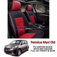 car seat cover case pu leather black red square perodua myvi old 06 11