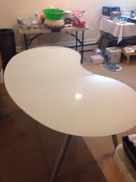 ikea galant white glass kidney shape table top with a legs