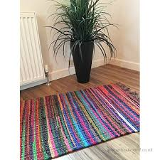 fair trade small hand loomed shabby chic multi coloured recycled cotton rag rug 60cm x 90cm