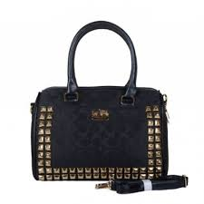 Coach Legacy Haley In Stud Signature Medium Black Satchels BDK