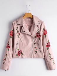 outfits fl patched rivets faux leather jacket light pink s