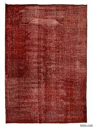red over dyed turkish vintage rug 7 6 x 10