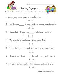 Our phonics worksheets offer the beginning stage of making the connection by identifying the first letter of the names of each object. Ending Digraphs Sentences Worksheet Have Fun Teaching