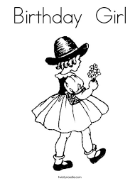 Small Picture Birthday Girl Coloring Page Twisty Noodle