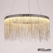 aluminum chain ring chandelier round pendant lamp fringe chains suspension lighting living sitting room hotel restaurant hall mall light diy pendant lamp