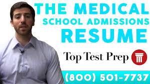 Medical School Admissions Resume Examples Toptestprep Com