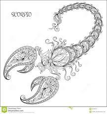 Hand Drawn Pattern For Coloring Book Zodiac Scorpio Stock Vector