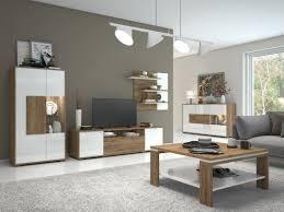 Wohnzimmer Komplett Set B Manase 5 Teilig Farbe Eiche Braun Weiß Hochglanz
