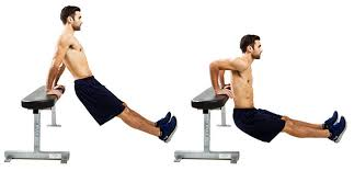 a man performing chair dips as part of his tricep workout without weights