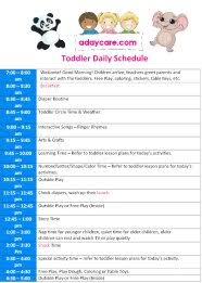 Toddler Routine Chart Daycare Daily Schedule Childcare Daily Schedule