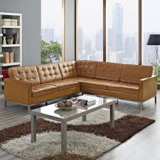 brown leather sectional sofa in small apartment living