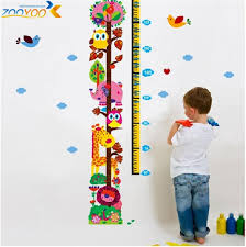 Giraffe Growth Chart Wall Stickers For Kids Room Home