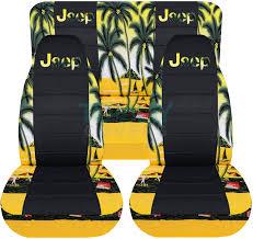 jeep wrangler yellow w palm tree hawaiian and black seat covers with jeep logo
