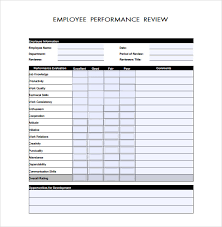 Sample Employee Performance Appraisal Sample Employee Performance Review Template 8 Free Documents